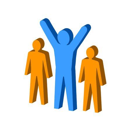 Leadership, teamwork concept symbol. Flat Isometric Icon or Logo. 3D Style Pictogram for Web Design, UI, Mobile App, Infographic. Vector Illustration on white background. Illustration