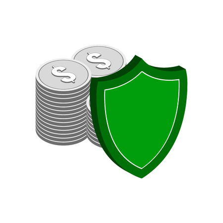 secure: Stack of Silver Coins with Shield, Finance Protection symbol. Flat Isometric Icon or Logo. 3D Style Pictogram for Web Design, UI, Mobile App, Infographic. Vector Illustration on white background.