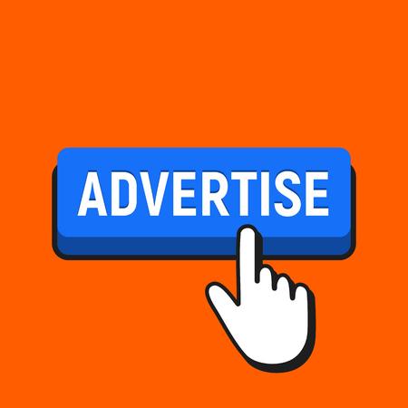 Hand Mouse Cursor Clicks the Advertise Button. Pointer Push Press Button Concept. Illustration