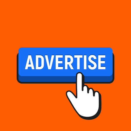 Hand Mouse Cursor Clicks the Advertise Button. Pointer Push Press Button Concept. Иллюстрация