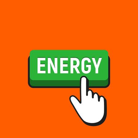 손 마우스 커서 에너지 버튼을 클릭합니다. 포인터 푸시 프레스 버튼 개념. 일러스트