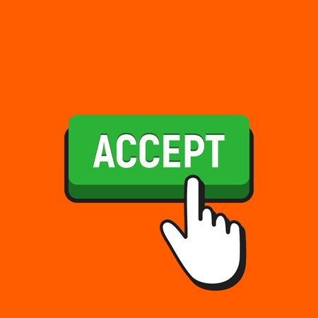 Hand Mouse Cursor Clicks the Accept Button. Pointer Push Press Button Concept.