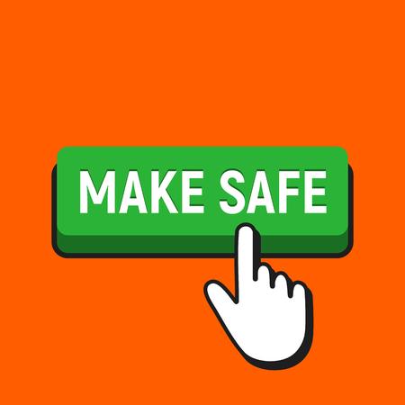 Hand mouse cursor clicks the make safe button. Pointer push press button concept.  イラスト・ベクター素材