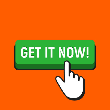 Hand mouse cursor clicks the get it now button. Pointer push press button concept.