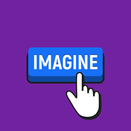 Hand mouse cursor clicks the imagine button. Pointer push press button concept.