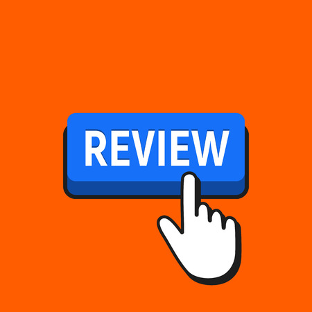 Hand Mouse Cursor Clicks the Review Button Vettoriali