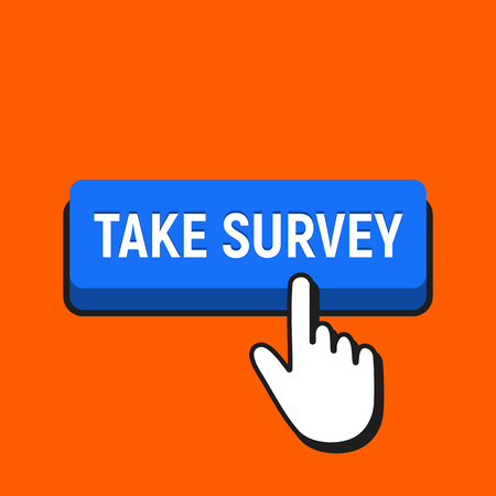 Hand Mouse Cursor Clicks the Take Survey Button. Pointer Push Press Button Concept. 向量圖像