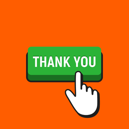 Hand Mouse Cursor Clicks the Thank You Button. Pointer Push Press Button Concept. 일러스트