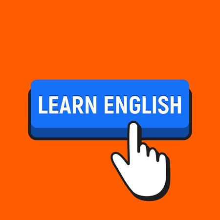 Hand Mouse Cursor Clicks the Learn English Button. Pointer Push Press Button Concept.