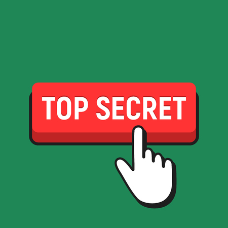 Hand Mouse Cursor Clicks the Top Secret Button. Pointer Push Press Button Concept.