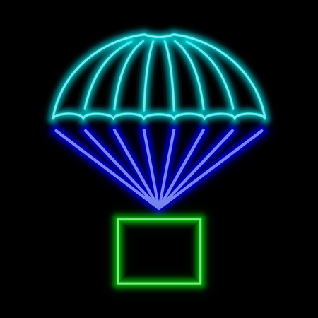 Parcel flying on parachute  neon sign. Bright glowing symbol on a black background. Neon style icon.