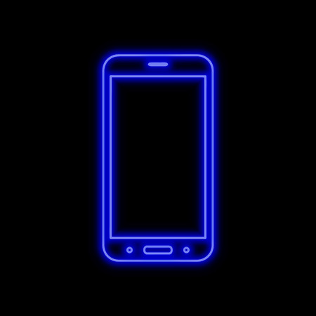 Mobile phone, smartphone neon sign. Bright glowing symbol on a black background. Neon style icon.