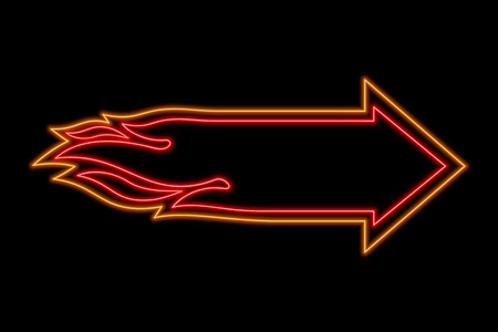 Flame arrow neon sign. Bright glowing symbol on a black background. Neon style icon.