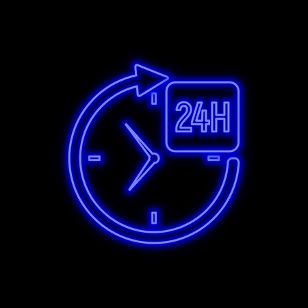 24 hours service neon sign. Bright glowing symbol on a black background. Neon style icon.