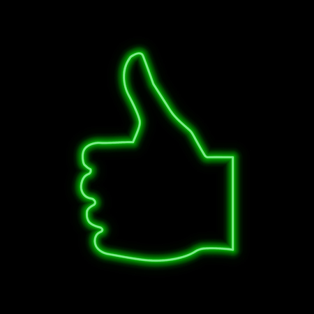 Thumb up, like neon sign. Bright glowing symbol on a black background. Neon style icon.