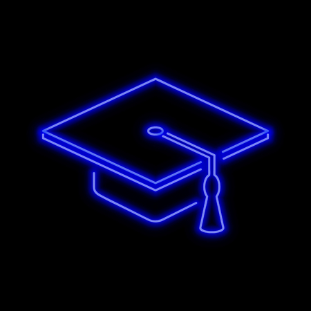 Graduate hat neon sign. Bright glowing symbol on a black background. Neon style icon.