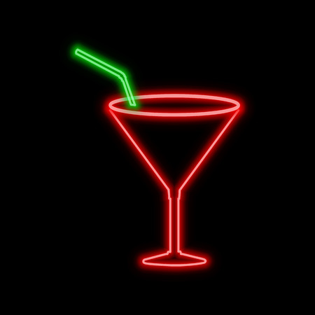 Cocktail glass neon sign. Bright glowing symbol on a black background. Neon style icon. 向量圖像
