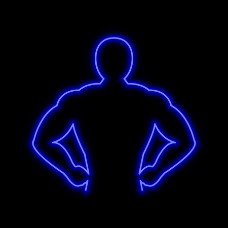 Muscle man neon sign. Bright glowing symbol on a black background. Neon style icon. Illustration