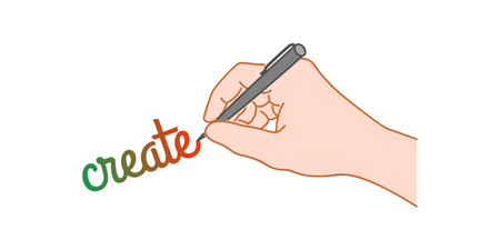 Hand with a pen writing word create. Hand drawn style illustration Çizim