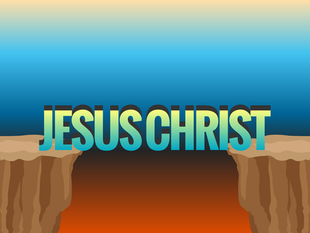Abyss and word JESUS CHRIST as bridge. Concept illustration