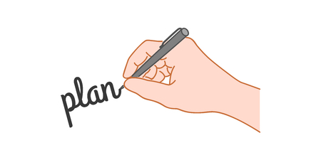 Hand with a pen writing word plan. Hand drawn style illustration