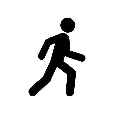 Walking man symbol. Pedestrian icon. Black sign over white background