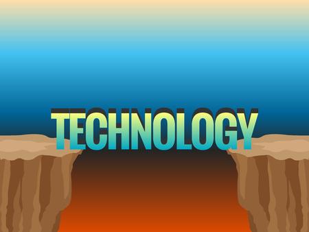 Abisso e parola TECNOLOGIA come ponte. Illustrazione del concetto