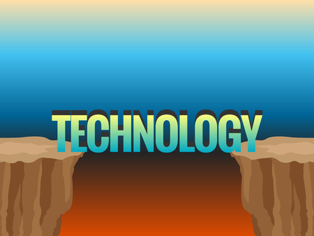 Abyss and word TECHNOLOGY as bridge. Concept illustration Illustration