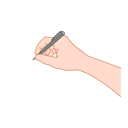 Hand writing with a pen. Hand drawn style illustration