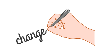 Hand with a pen writing word change. Hand drawn style illustration