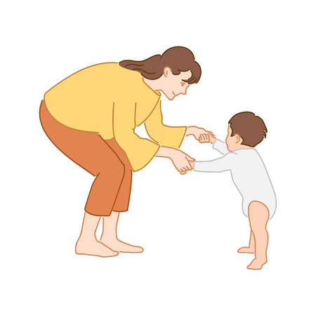 Mom teaching her little son to walk holding hands. First baby steps concept. Hand drawn style doodle design illustration Vector Illustration