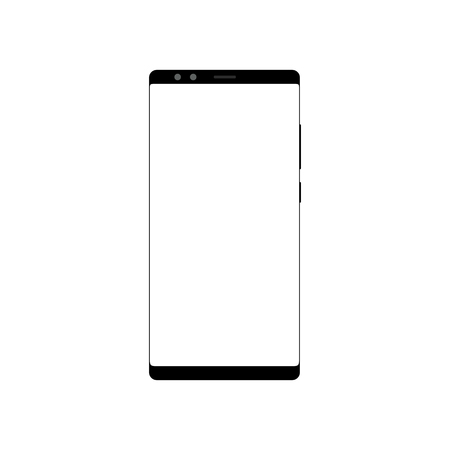 Frameless smartphone mock up with blank screen isolated on white background. Template design Illustration