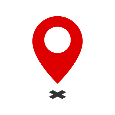 Map Pointer symbol. Flat Icon or Logo for Web Design, UI, Mobile App, Infographic. Vector Illustration on white background.