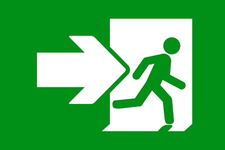 Green emergency exit sign. Simple flat illustration Stock Illustratie