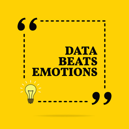 Inspirational motivational quote. Data beats emotions. Vector simple design. Black text over yellow background Stock Illustratie