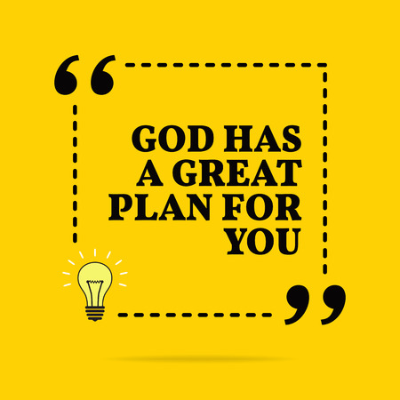 Inspirational motivational quote. God has a great plan for you. Black text over yellow background Stock Illustratie