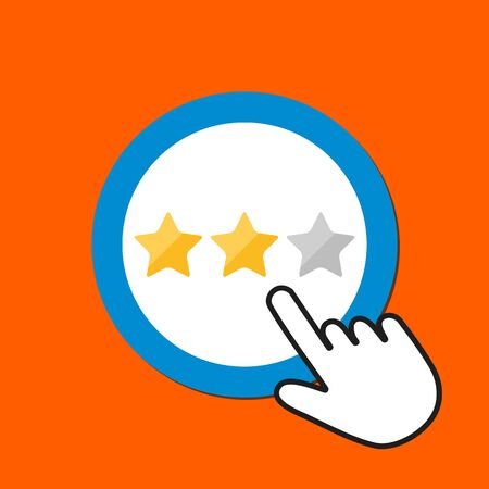 Star rating icon. Review, customer satisfaction concept. Hand Mouse Cursor Clicks the Button. Pointer Push Press