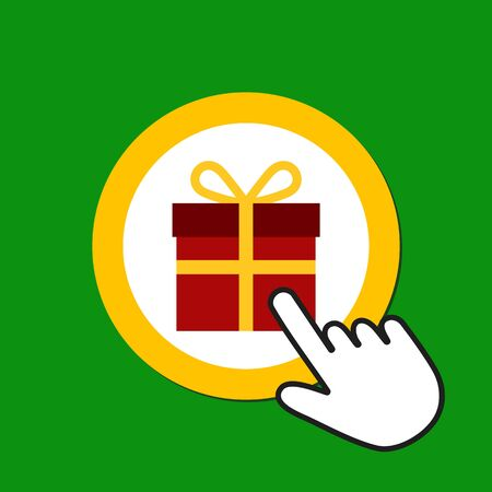 Gift box icon. Present, bonusl concept. Hand Mouse Cursor Clicks the Button. Pointer Push Press