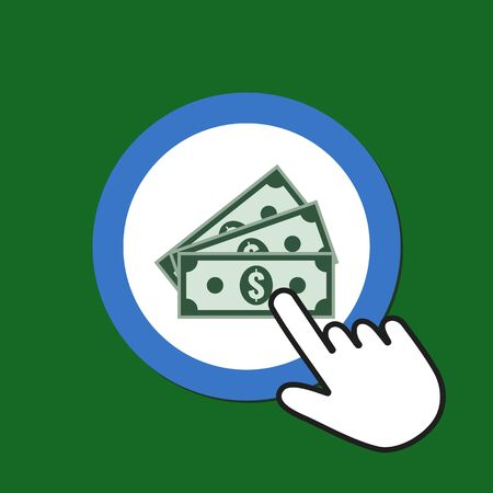 Cash banknotes icon. Money, bonus concept. Hand Mouse Cursor Clicks the Button. Pointer Push Press