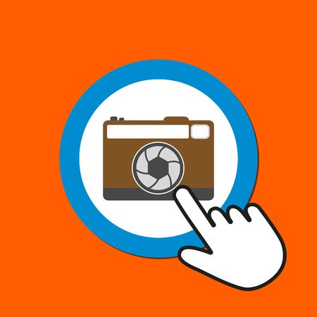 Retro photo camera icon. Making photo concept. Hand Mouse Cursor Clicks the Button. Pointer Push Press