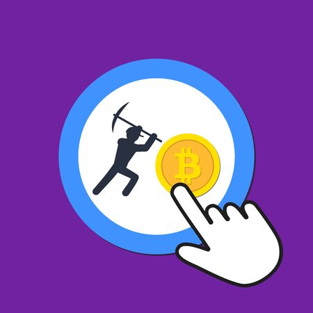 Miner and bitcoin icon. Mining cryptocurrency concept. Hand Mouse Cursor Clicks the Button. Pointer Push Press