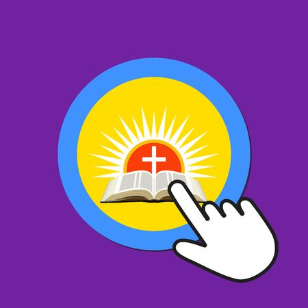 Bible with cross over sunset icon. Resurrection, Easter concept. Hand Mouse Cursor Clicks the Button. Pointer Push Press