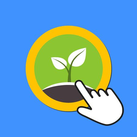 Sprout icon. New life, Eco concept. Hand Mouse Cursor Clicks the Button. Pointer Push Press