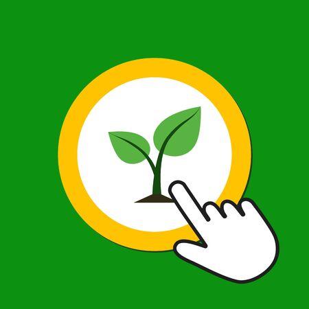 Sprout icon. Eco, life concept. Hand Mouse Cursor Clicks the Button. Pointer Push Press Ilustrace