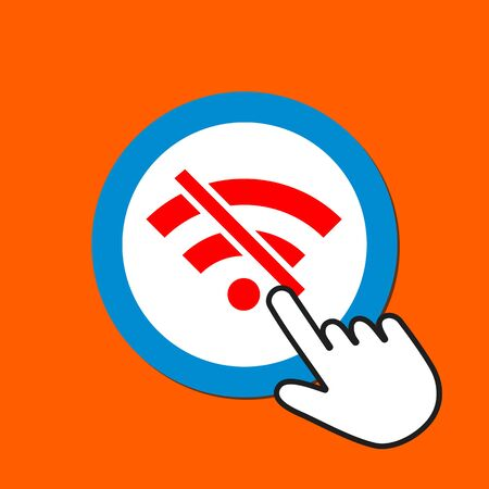 Wi-fi disabled icon. Internet disconnection concept. Hand Mouse Cursor Clicks the Button. Pointer Push Press 일러스트
