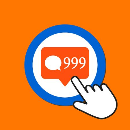 999 comments icon. Online popularity concept. Hand Mouse Cursor Clicks the Button. Pointer Push Press