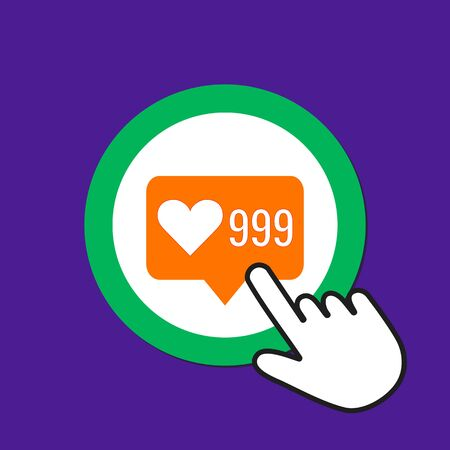 999 hearts icon. Like, sympathy concept. Hand Mouse Cursor Clicks the Button. Pointer Push Press