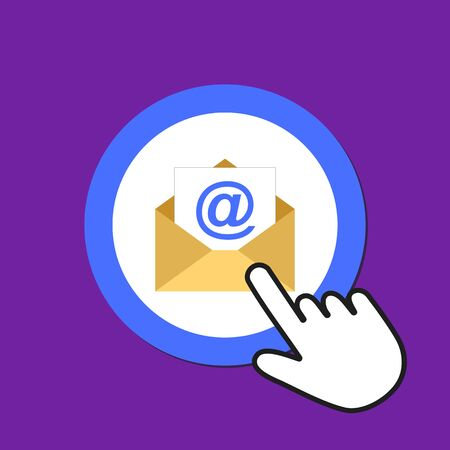 Open envelope icon. Sending email concept. Hand Mouse Cursor Clicks the Button. Pointer Push Press