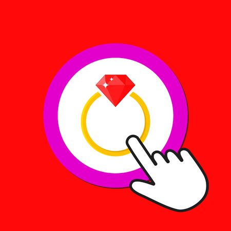 Golden ring with ruby icon. Expensive gift concept. Hand Mouse Cursor Clicks the Button. Pointer Push Press