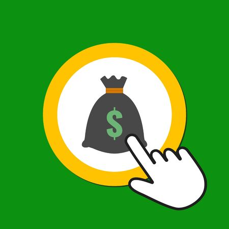 Money bag icon. Wealth, bonus concept. Hand Mouse Cursor Clicks the Button. Pointer Push Press